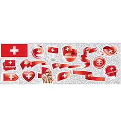 set national flag switzerland in vector image