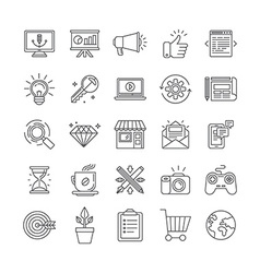 set of 25 icons and signs vector image
