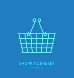 Shopping basket flat line icons retail vector
