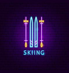 Skiing neon label vector