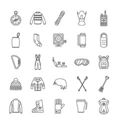 snowboard equipment icons set outline style vector image