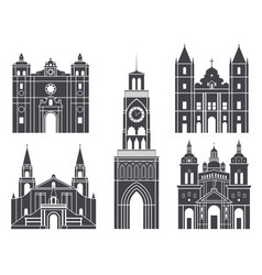 South america isolated american buildings on vector