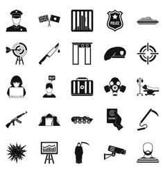 Special forces icons set simple style vector
