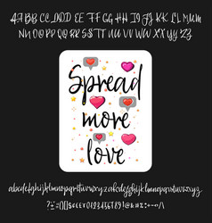 spread more love handwritten fonts analog vector image