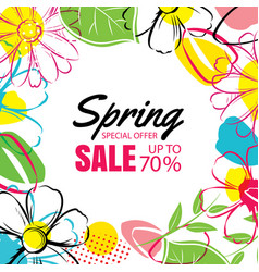 Spring sale poster template with colorful flower vector