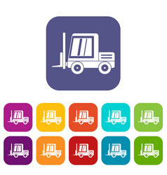 Stacker loader icons set flat vector