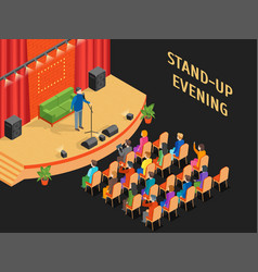 stand-up show scene and auditorium isometric view vector image