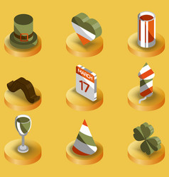 stpatricks day color isometric icons vector image