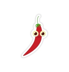 Stylish paper sticker on a white background chilli vector