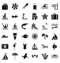summer beach icons set simple style vector image