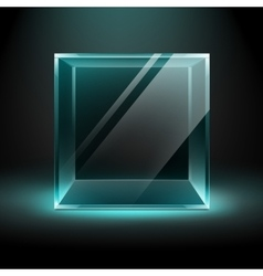 Transparent Glass Box Cube on Black Background vector