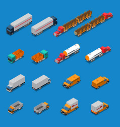 trucks isometric icons set vector image