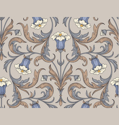 Vintage bellflowers pattern vector