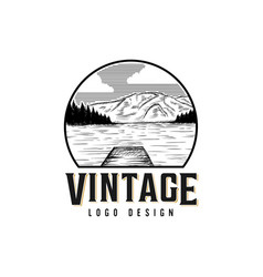 Vintage lake logo design vector