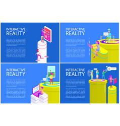 virtual reality posters set vector image