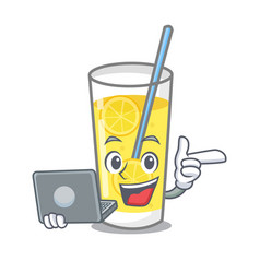 With laptop lemonade character cartoon style vector