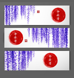 banners with wisteria and red sun hand drawn with vector image