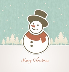 Christmas Snowman with trees covered in snow vector image vector image