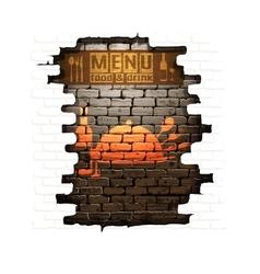 menu brick wall frame wooden boards vector image
