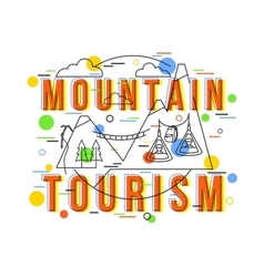 Mountain Tourism Background with icons and vector image
