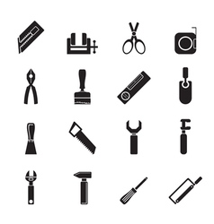 Silhouette Building and Construction Tools icons vector image vector image