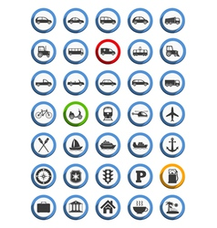 Transportation Nautical and Travel Icons vector image vector image