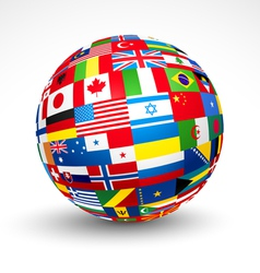 world flags sphere vector image