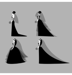 Bride in wedding dresses vector image