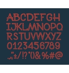 chalk sketched striped alphabet abc font vector image
