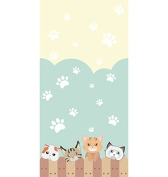 cute cat seamless pattern background with fence vector image vector image