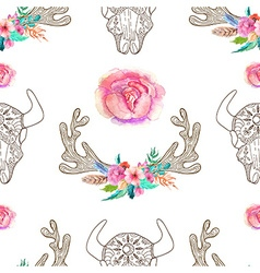 Doodle bull skull and horns with watercolor vector image