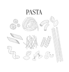 Italian Pasta Assortment Isolated Hand Drawn vector image vector image