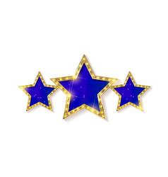 retro light sign three gold blue stars vector image vector image