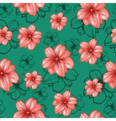 Seamless pattern with pink flowers on the vector image vector image