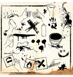 set of graffiti vandalism vector image