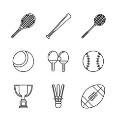white background with monochrome set of sports of vector image