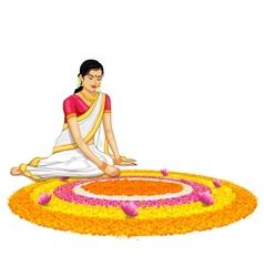Woman making rangoli for onam vector image vector image