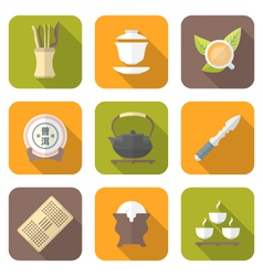 color flat style chinese tea ceremony equipment vector image
