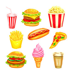 fast food and drinks watercolor set vector image