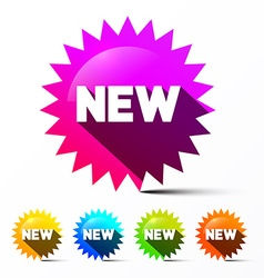 New Labels Set Colorful Toothed Stickers with New vector image vector image