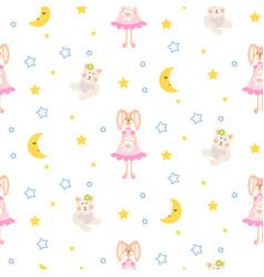 pajamas pattern with tilda bunny bear plush toy vector image vector image