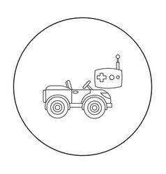 rc car icon in outline style isolated on white vector image vector image