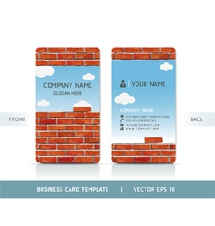 Red Brick Wall Business Card vector image