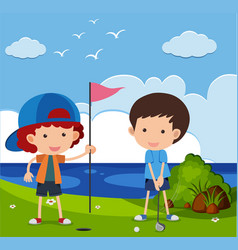 two boys playing golf in the field vector image