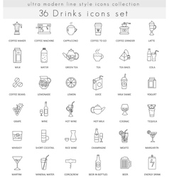 drinks ultra modern outline line icons for vector image vector image