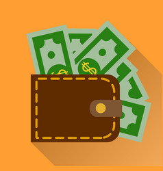 flat wallet with cash icon vector image vector image