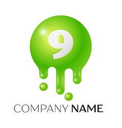number nine splash logo vector image vector image