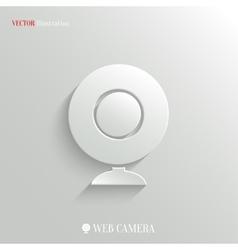 Webcamera icon - white app button vector image