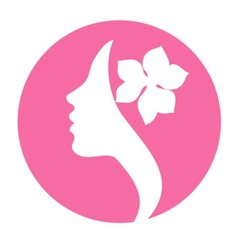 Young woman face profile silhouette -pink icon vector image