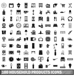 100 household products icons set simple style vector